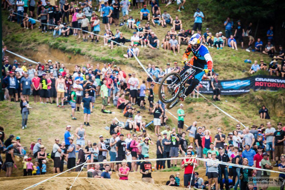 Crankworx Rotorua Downhill Winner Conquers the Rock Garden and 40-Foot Final Gap Jump for the Win