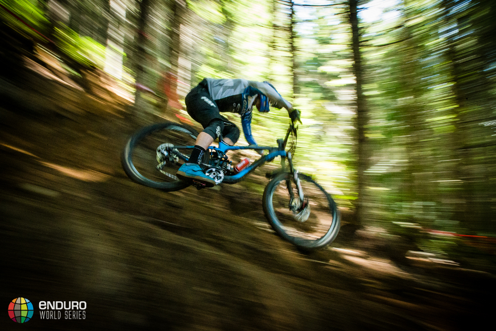 Yoann Barelli on stage three during Enduro World Series round 6, Whistler, Canada, 2015. Photo by Matt Wragg.
