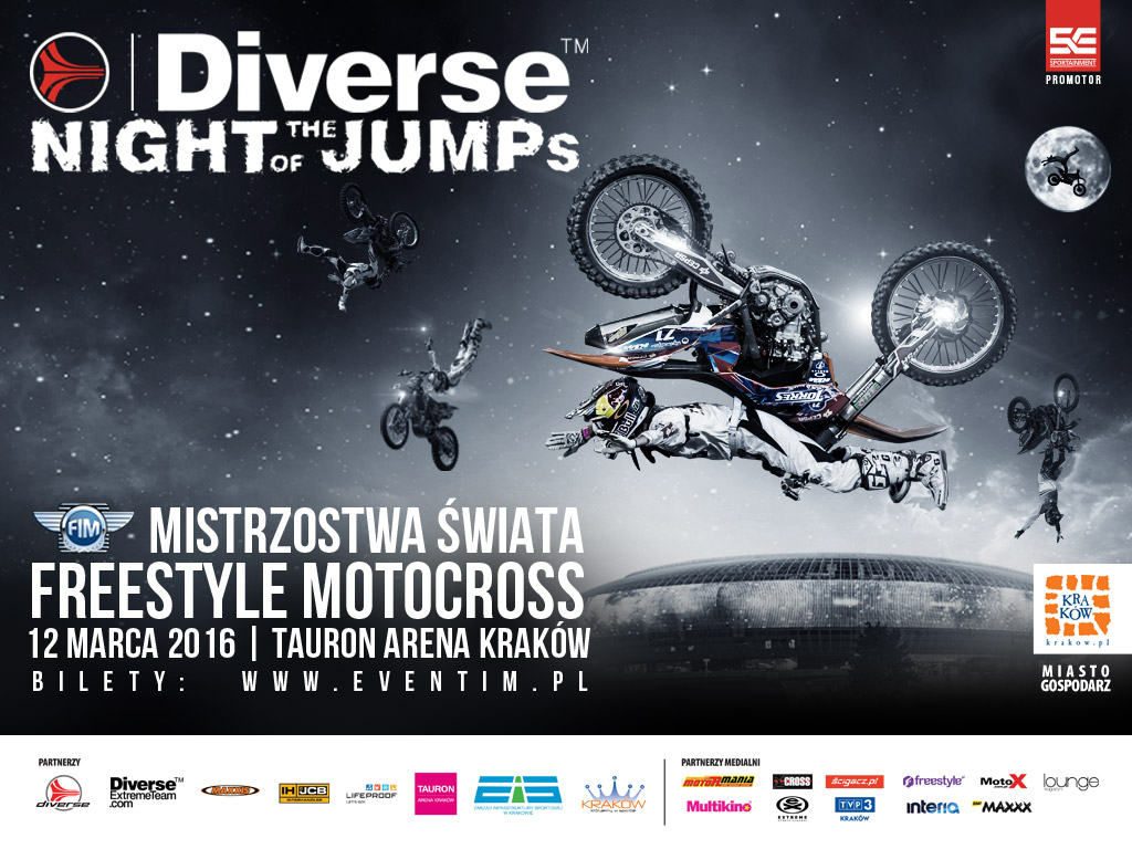 Mistrzostwa Świata we Freestyle Motocrossie - Diverse NIGHT of the JUMPs wracają do Krakowa